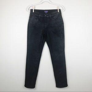 NYDJ Sheri Skinny Black Coated Jeans Size 2P